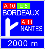 autoroute avertissement bifurcation simple
